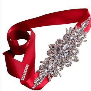 ⭕️Rhinestone Wedding Dress Belt Ribbon Crystals‼️